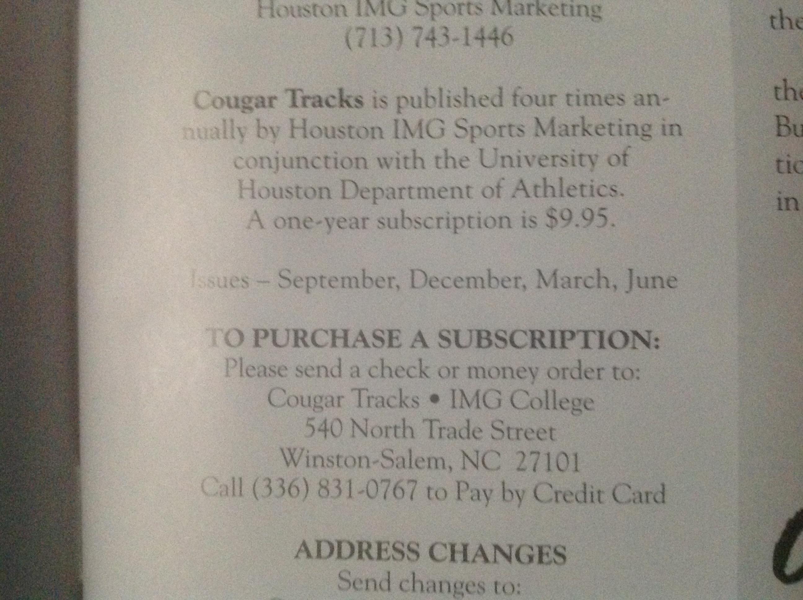 cougar tracks magazine the satellite coogfans